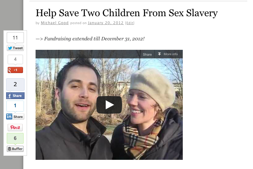 Teamed up with a group of rise365 readers raising $1165 towards saving two children from sex slavery